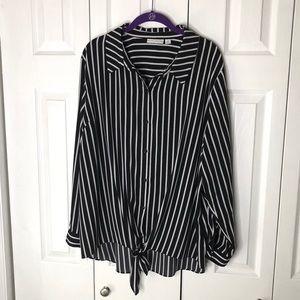 Black White Top Long Sleeve By Susan Graver 20 W